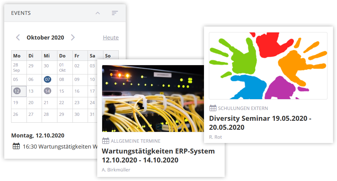 Screenshot Firmenevents im Intranet
